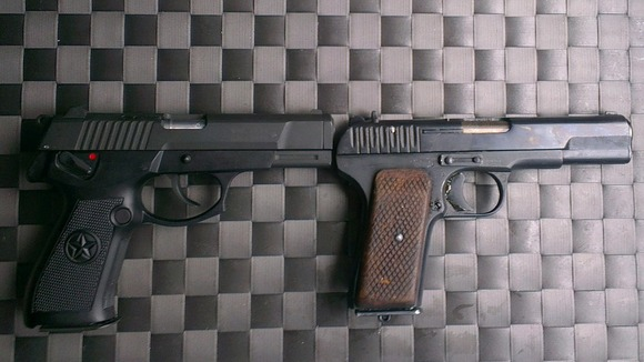 The imitation firearms used by Miles Alura and his accomplices.
