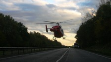 Hertfordshire Air Ambulance leaving the scene of the accident on the A10