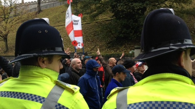 EDL marchers in Norwich