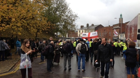 Marchers in Castle Meadow, Norwich