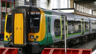 A London Midland Train in a depot in the West Midlands