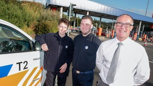 Apprentices Mackenzie Sharpe (left) and Daniel Parkin with TT2 Operations Manager Stu Sutton