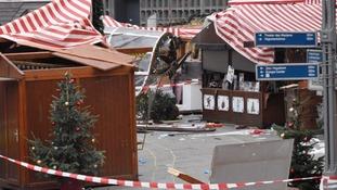 A trail of destruction can be seen at the Christmas market at Breitscheidplatz in Berlin