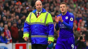 Jamie Vardy was sent off during Leicester's match against Stoke
