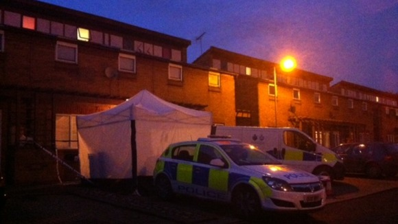 Police tent outside home in Hadrian's Walk, Stevenage