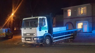 The lorry which police say was deliberately driven into a garden in Darlington
