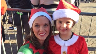 Charlotte & Izzy before the Santa Run