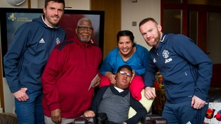 Wayne Rooney and Michael Carrick visit patient Andy and his family at Francis House Children's Hospital