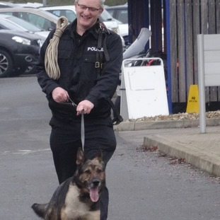 Finn and his handler PC Wardell were both injured in October.
