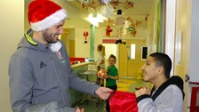 Middlesbrough players visited James Cook hospital to hand out presents
