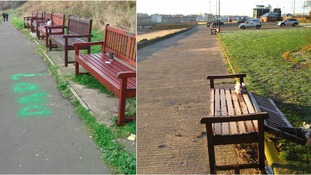 Benches damaged in North Shields were dedicated to the memory of lost loved ones