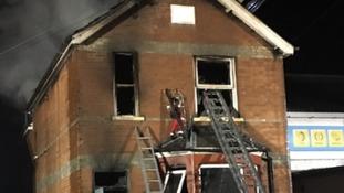 Firefighters tackle the blaze in Braintree last night.