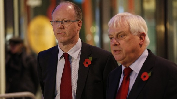 George Entwistle and Lord Patten pictured addressing the media last night.