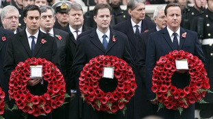 Ed Miliband (left), Nick Clegg and David Cameron at the Remembrance Sunday ceremony in 2010.
