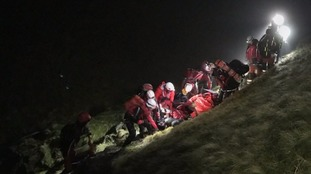Mountain rescue team at work