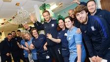 Players from Preston North End FC visit Royal Preston Hospital children's ward
