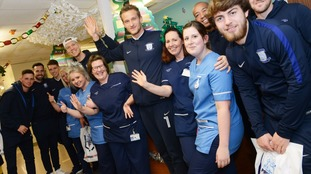 Players from Preston North End FC visit Royal Preston Hospital children's ward