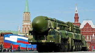 Russian truck-mounted Topol intercontinental ballistic missile, pictured in 2008
