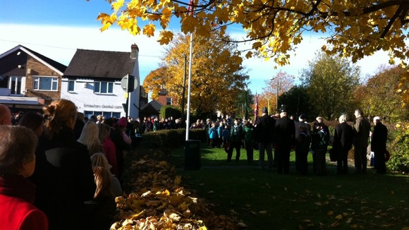 Residents and service personnel at the Remembrance Sunday service in Breaston, Derbyshire