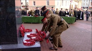 Laying wreaths at the war memorial