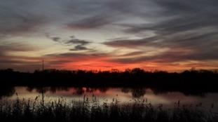 A mild December sunset over Loddon in Norfolk.
