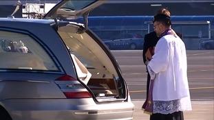 Fabrizia Di Lorenzo's remains arrive in Rome's Ciampino airport.