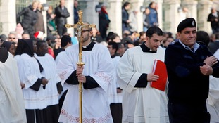 Clergymen gathered outside the Church of the Nativity in Bethlehem to mark the celebrations.