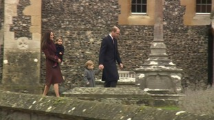 The Duke and Duchess of Cambridge arrive for a church service with the Middleton family.