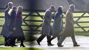 Members of the royal family attend the Christmas Day service at Sandringham on Sunday without the Queen.