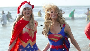 Hundreds turnout for Porthcawl's Christmas Day swim