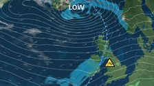 Low pressure tracks the north of the UK, brings very strong winds our way