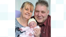 Mum Gill and Dad Mark with baby Darcey Grace Clegg