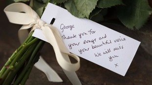 A tribute left outside George Michael's home.
