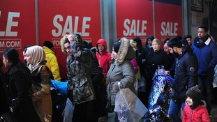 Queues outside the Arndale Centre, Manchester early this morning