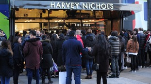 Queues outside Harvey Nichols in Manchester