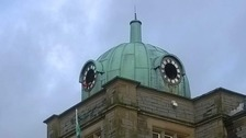 Millom town square clock under restoration