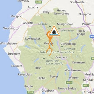 Current flood warnings map for Cumbria