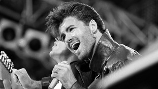 George Michael on stage for Wham's last sell out concert in 1986