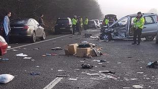 Debris strewn across A40 after crash