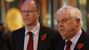 BBC director general George Entwistle (left) looks on as Chairman of the BBC Trust Lord Patten speaks to the media