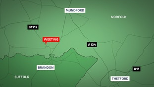 A driver has been killed after their car crashed into a tree at Weeting near Thetford in Norfolk.