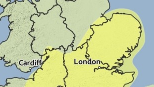 The area covered by the yellow weather warning for fog and mist.