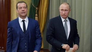 Russia's Prime Minister Dimitry Medvedev and President Vladimir Putin.