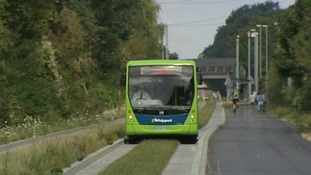 The Cambridge guided busway was blocked by a car stuck on the tracks.