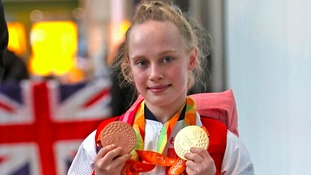 Northamptonshire swimmer Ellie Robinson arrives back at Heathrow after the Rio Paralympics.