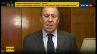 Sergey Lavrov talking on Russian state TV.