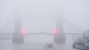 Freezing fog in London on the River Thames.
