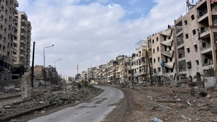 Damaged buildings in Aleppo.