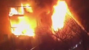 Video shows terrifying fire in east London as family are rescued from block of flats