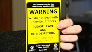 Trading standards sticker to deter cold callers.